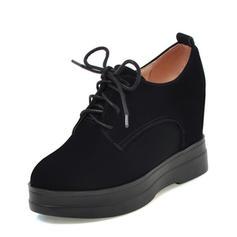 Femmes Suède Talon compensé Compensée avec Dentelle chaussures