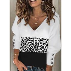 Print Color Block Leopard V-Neck Long Sleeves Lantern Sleeve Elegant Blouses