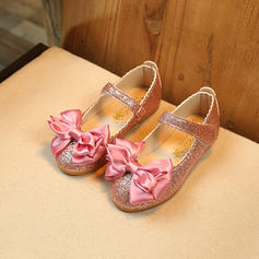 Girl's Leatherette Flat Heel Closed Toe Flower Girl Shoes With Bowknot Sparkling Glitter Velcro