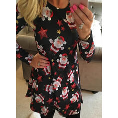 Print Long Sleeves Shift Knee Length Christmas/Casual Tunic Dresses