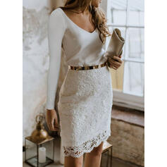 Lace/Solid Long Sleeves Bodycon Knee Length Party/Elegant Pencil Dresses