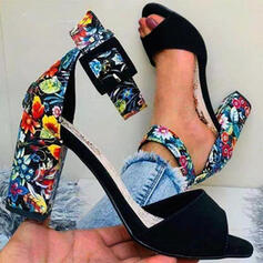 Vrouwen PU Chunky Heel Sandalen Pumps Peep Toe Ronde neus met Gesp Bloem Geborduurd schoenen