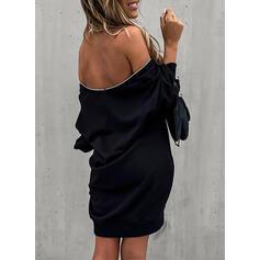 Jednolita Długie rękawy Koktajlowa Nad kolana Mała czarna/Seksowna/Przyjęcie Bluza Sukienki