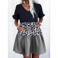 Colorblock/λεοπάρδαλη Rövidujjú Ingruha Térd feletti Hétköznapokra Tunika φορέματα