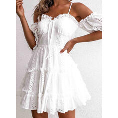 Solid 1/2 Sleeves/Cold Shoulder Sleeve A-line Above Knee Casual/Vacation Dresses