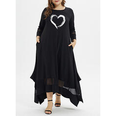 Print/Floral Cold Shoulder Sleeve Sheath Above Knee Casual Dresses