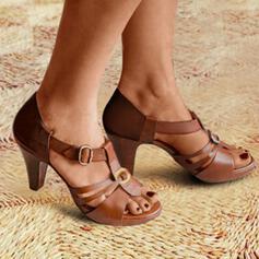Femmes PU Talon cône Sandales À bout ouvert avec Boucle chaussures