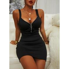 Solide Mouwloos Bodycon Boven de knie Zwart jurkje/Sexy/Casual Jurken