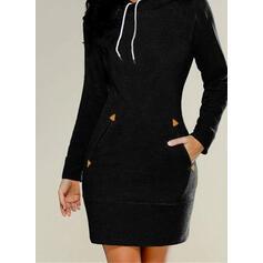 固体 長袖 ボディコンドレス 膝上 リトルブラックドレス/カジュアル スウェットシャツ ドレス