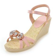 Kvinnor Konstläder Kilklack Sandaler Pumps Plattform Kilar med Bowknot skor