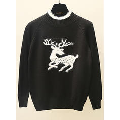 9ef7a796a33f ... Polyester Crew Neck Animal Print Chunky knit Ugly Christmas Sweater ...