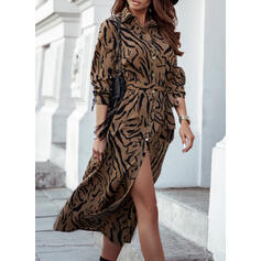 Print Long Sleeves A-line Shirt/Skater Casual Midi Dresses