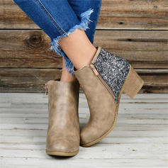 Women's PU Chunky Heel Ankle Boots With Sequin Zipper shoes