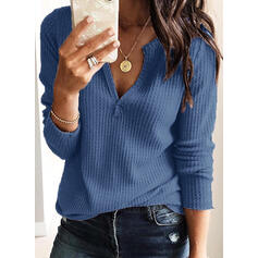 Solid V-neck Sweaters