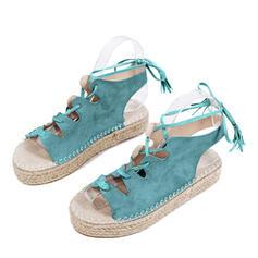 Femmes Similicuir Talon plat Sandales À bout ouvert avec Dentelle chaussures