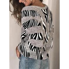 Impresión Bloque de Color Cuello en V Casuales Suéteres