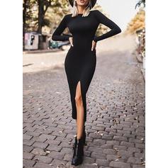 Einfarbig Lange Ärmel Figurbetont Kleine Schwarze/Freizeit Midi Kleider