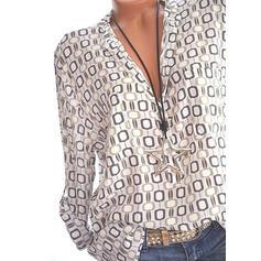Print V Neck Long Sleeves Casual Blouses