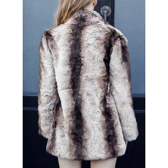 Faux Fur Long Sleeves Print Faux Fur Coats