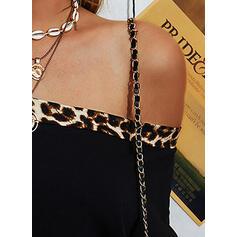 Leopardo Un Hombro Manga Larga Casual Blusas
