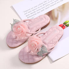 Girl's Microfiber Leather Peep Toe Flats Slippers With Flower