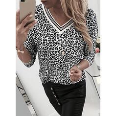 Leopard V-hals Lange ærmer Sweatshirts