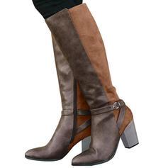 Women's PU Chunky Heel Knee High Boots With Buckle Zipper shoes