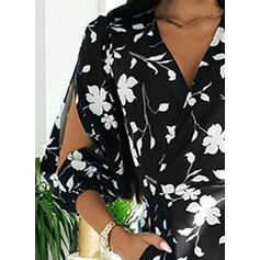 Print/Bloemen 3/4 Mouwen/Cold Shoulder Mouw Bodycon Boven de knie Casual/Elegant Jurken