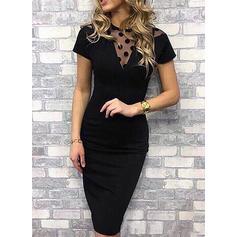 Jednolita/Groszki Krótkie rękawy Bodycon Mała czarna/Casual/Przyjęcie/Elegancki Midi Sukienki