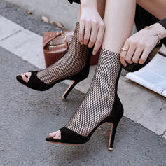 Women's Suede Mesh Stiletto Heel Sandals Pumps With Hollow-out shoes