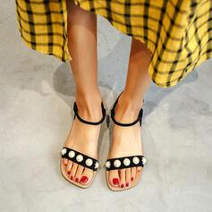 Mulheres Camurça Sem salto Sandálias Sem salto com Pérola Imitação sapatos