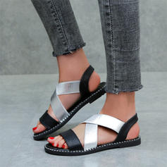 Naisten Keinonahasta Matalakorkoiset Heel Sandaalit jossa Kuminauha kengät
