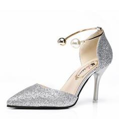 De mujer PU Tacón stilettos Salón con Perla Lentejuelas zapatos
