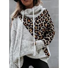 Fargeblokk Lommer Leopard Hette Casual Gensere
