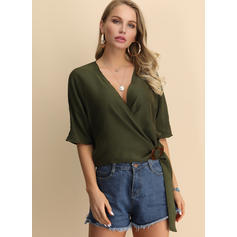 Solid V-Neck 1/2 Sleeves Casual Elegant T-shirts