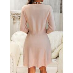 Einfarbig Zopfmuster Rundhalsausschnitt Freizeit Lang Pulloverkleid
