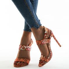 Donna Panno Tacco a spillo Sandalo Punta aperta con Velcro scarpe
