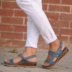 Dla kobiet PU Niski Obcas Sandały Otwarty Nosek Buta Z Rzep obuwie