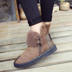 Női PU Lapos sarok Csizma Hótaposó -Val Cipzár Szőrme cipő