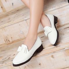 Dla kobiet Skóra Lakierowana Płaski Obcas Plaskie Zakryte Palce Z Kokarda obuwie