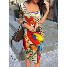 Floral/Animal Print Short Sleeves Bodycon Knee Length Casual/Elegant Pencil Dresses