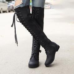 Frauen Kunstleder Niederiger Absatz Stiefel Kniehocher Stiefel mit Zuschnüren Schuhe