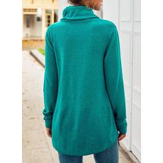 Einfarbig Stehkragen Ausschnitt Lange Ärmel Freizeit Stricken Blusen