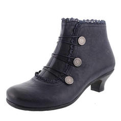 Women's PU Low Heel Ankle Boots With Stitching Lace shoes