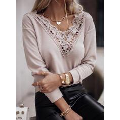 Solid Blonder V-hals Lange ærmer Casual Skjorter