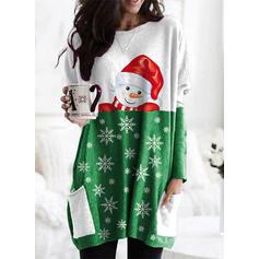 Print Color Block Lommer rund hals Lange ærmer Jule sweatshirt