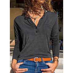 Einfarbig V-Ausschnitt Lange Ärmel Mit Knöpfen Freizeit Blusen