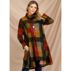 Color Block Long Sleeves Shift Knee Length Casual Tunic Dresses