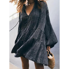 Solid Long Sleeves Shift Knee Length Little Black/Casual Dresses