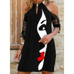 Print Lace 1/2 Sleeves Shift Above Knee Casual Tunic Dresses